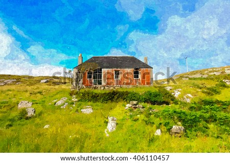 Digital oil painting from a photograph of abandoned house ruin at the side of a loch on the Isle of Scalpay, Western Isles, in the highlands of Scotland, corrugated iron on walls and slates on roof - stock photo