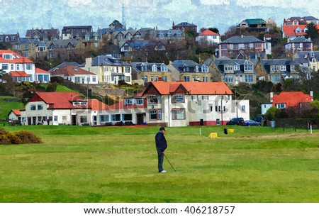 Digital oil painting from a photograph of golfer playing in front of the Clubhouse of West Kilbride Golf Club, an 18 hole links course located on the North Ayrshire Coast of Scotland - stock photo