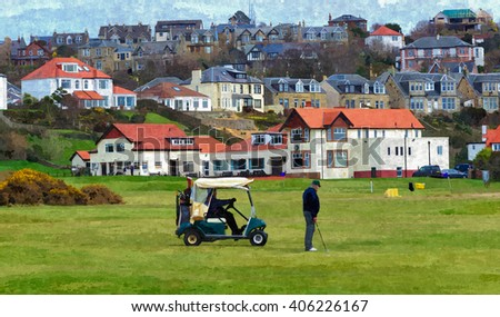 Digital oil painting from a photograph of golfers playing in front of the Clubhouse of West Kilbride Golf Club, an 18 hole links course located on the North Ayrshire Coast of Scotland - stock photo