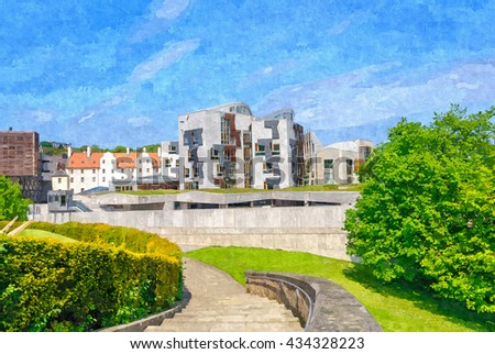 Digital oil painting from a photograph of the exterior of the Scottish Parliament Building, Holyrood, Edinburgh, Scotland - stock photo