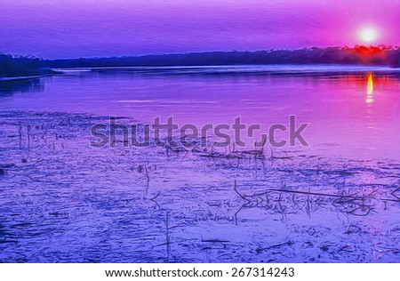 Digital oil painting of Chobe River at sunset - stock photo