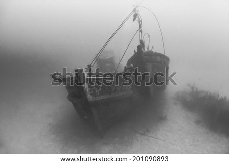 Digital Oil Painting Of Underwater Shipwreck at Tenggol Island, Malaysia - stock photo