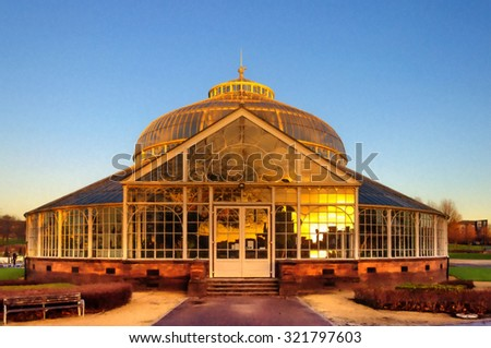 Digital oil pastel sketch from a photograph of rear elevation of the Winter Gardens of the People's Palace, Glasgow Green,Glasgow, Scotland with a reflection in the glass of the city skyline at sunset - stock photo