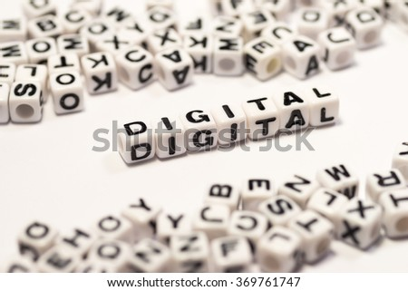 DIGITAL, on the white cube - stock photo