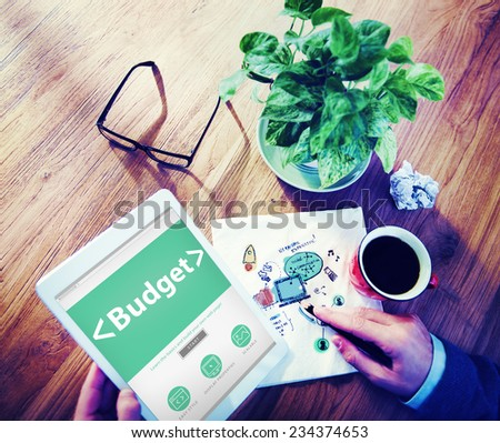 Digital Online Budget Finance Bookkeeping Office Working Concept - stock photo