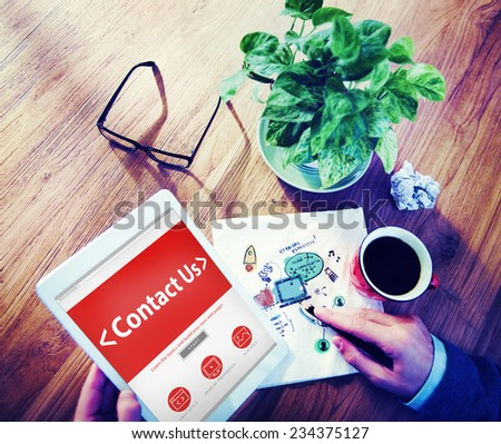 Digital Online Business Service Contact us Concept - stock photo