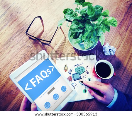 Digital Online FAQs Community Office Working Concept - stock photo