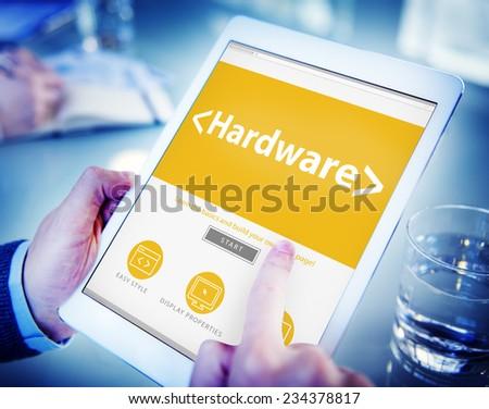 Digital Online Hardware Data Storage Office Working Concept - stock photo