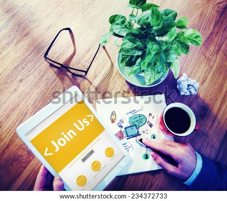 Digital Online Join us Business Office Working Concept - stock photo