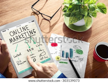 Digital Online Marketing Office Working Concept - stock photo