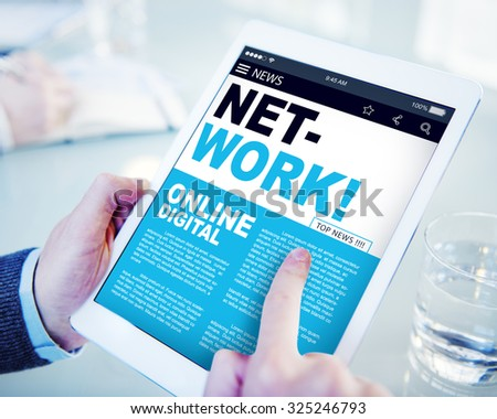 Digital Online News Headline Network Concept - stock photo