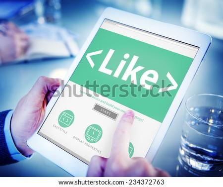 Digital Online Social Media Networking Like Office Concept - stock photo