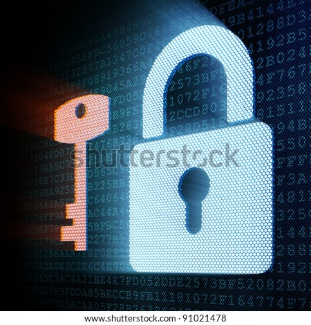 Digital padlock and key, 3d render - stock photo