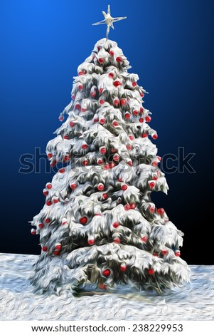 Digital painted Christmas tree with red toys - stock photo