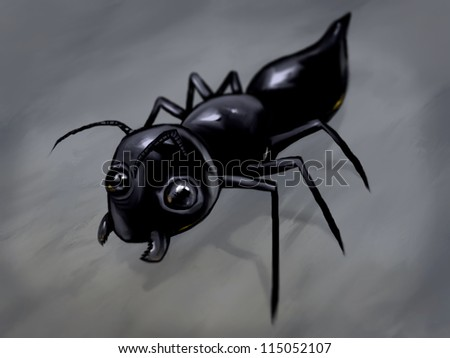 digital painting of a friendly looking black ant character - stock photo