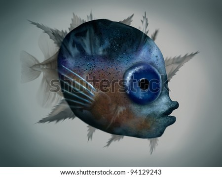 digital painting of a mola mola fish larva under microscope - stock photo