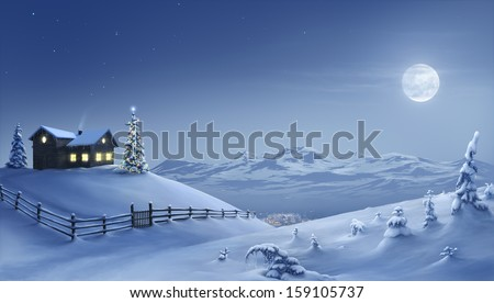 Digital painting of a silent Christmas night in the snow covered mountains. - stock photo