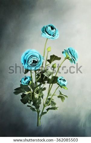 Digital painting of beautiful blue Ranuculus flowers. - stock photo