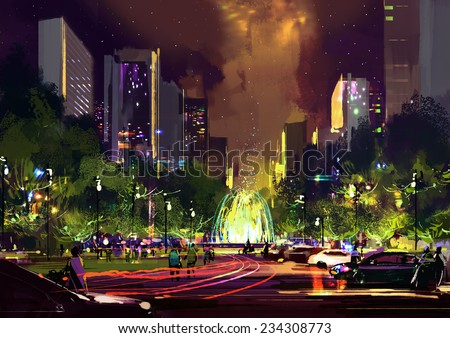 digital painting of bright color fountain in the park at night - stock photo