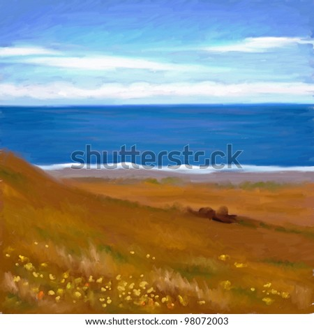 digital painting of golden grass field with yellow flowers in front of the ocean shore - stock photo