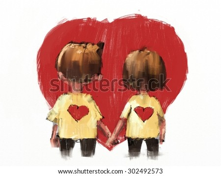 digital painting of happy couple holding hands, oil on canvas texture - stock photo