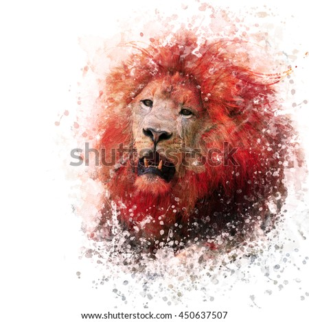 digital painting of  lion portrait - stock photo