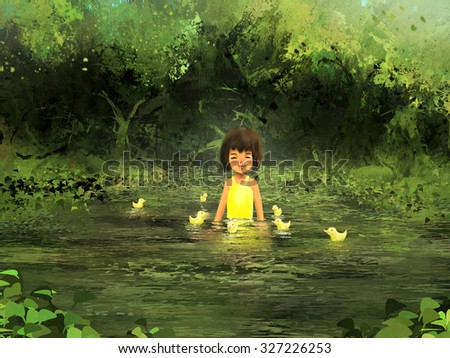 digital painting of little girl with gosling, oil on canvas texture - stock photo