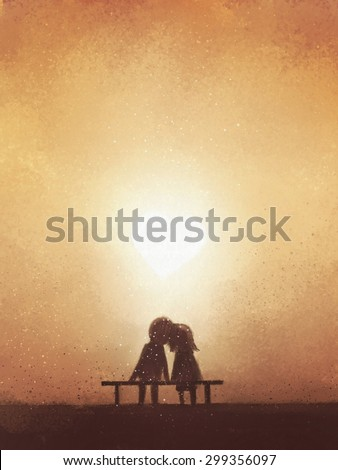 digital painting of love couple on bench watching heart shaped sunset, watercolor on paper texture - stock photo