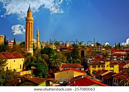 Digital painting, rooftops with mosque in Kaleici, Antalya, Turkey - stock photo