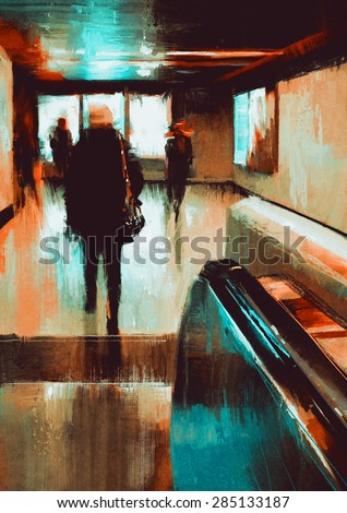 digital painting showing rear view of city people urban scene abstract background - stock photo