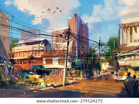 digital painting showing street scene with urban traffic on a beautiful sunny day - stock photo