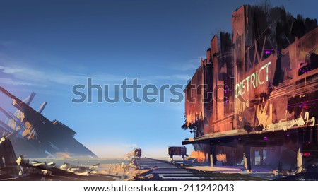 Digital painting showing the ruined train station - stock photo