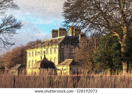 Digital pencil sketch from a photograph of Pollok House, Glasgow, Scotland,  built in 1752, designed by William Adam, ancestral home of Maxwell and Jardine families - stock photo