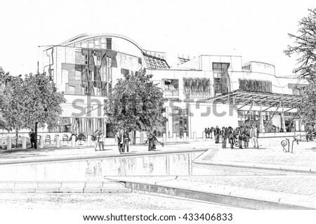 Digital pencil sketch from a photograph of the exterior of the Scottish Parliament Building, Holyrood, Edinburgh, Scotland - stock photo