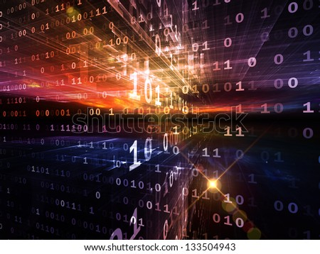 Digital Perspectives series. Backdrop composed of abstract grids and numbers and suitable for use in the projects on business, science, education and technology - stock photo