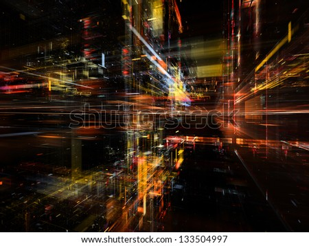 Digital Perspectives series. Interplay of light grids and fractal elements on the subject of business, science, education and technology - stock photo