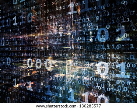 Digital Perspectives series. Interplay of numbers, light grids and fractal elements on the subject of business, science, education and technology - stock photo