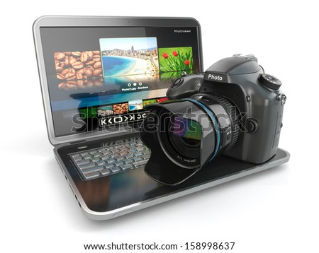 Digital photo camera and laptop. Journalist  or  traveler equipment. 3d - stock photo