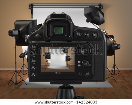 Digital photo camera in studio with softbox and flashes. 3d - stock photo
