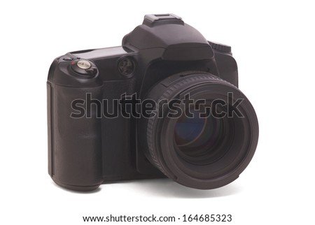 Digital photo camera isolated on white background - stock photo