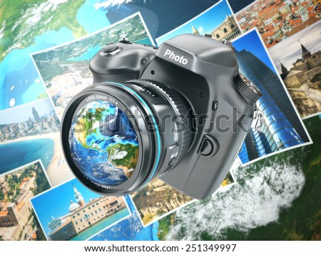Digital photo camera on background from earth and photographs. 3d Elements of this image furnished by NASA - stock photo