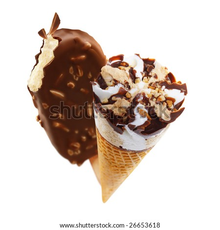 Digital photocomposing of delicious ice cream - stock photo