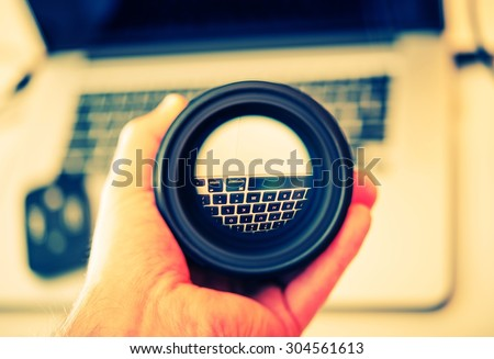Digital Photography Lens Cleaning. 35mm Lens Check.  - stock photo