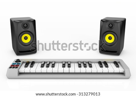 Digital Piano Synthesizer with Audio Speakers on a white background - stock photo