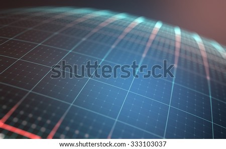 Digital planet with lines and dots coordinates of a globalized world. - stock photo