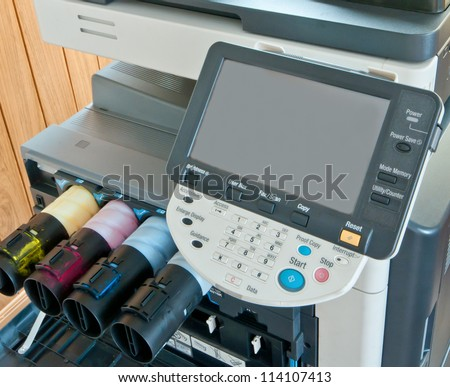 digital printing press with monitor - stock photo