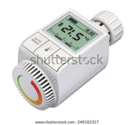 Digital radiator thermostatic valve - stock photo