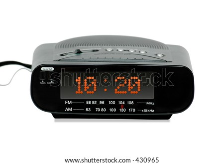 Digital Radio alarm clock -isolated - stock photo