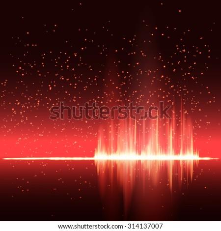 Digital red light Equalizer background. Raster version. - stock photo