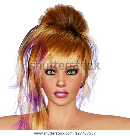 Digital render of a beautiful girl with blonde and violet in the ends hair. - stock photo